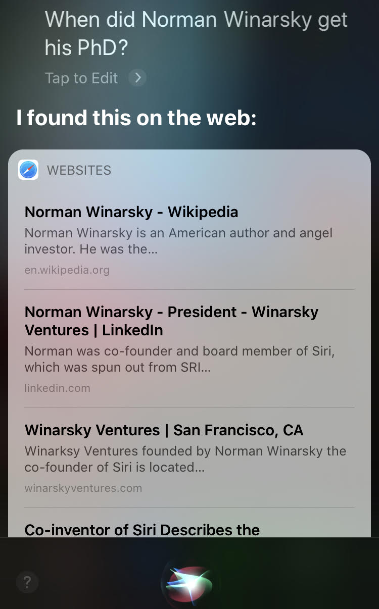Siri gets the answer wrong